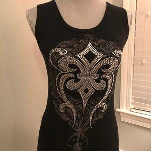 Tops - Black fleur de list embellished knit tank top